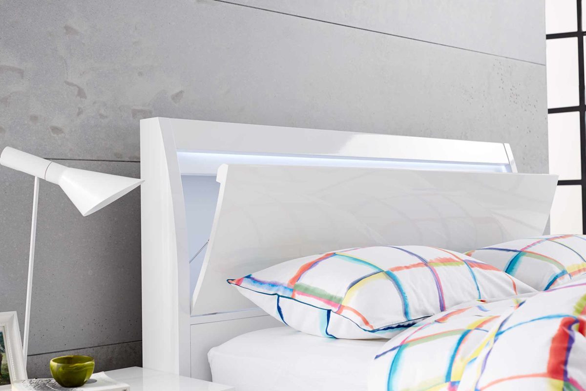 Chicago Bed Frame Gloss White Bedroom Furniture Forty