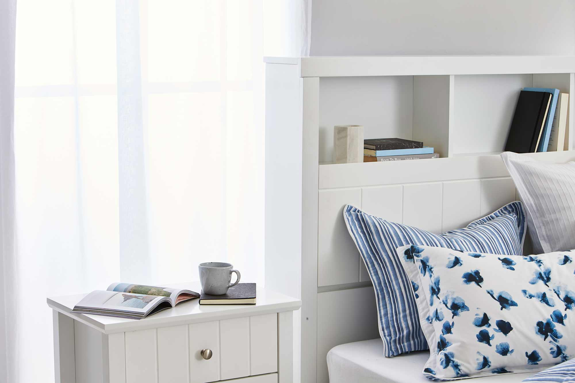 Olsen Bookend Bed Frame W Bedhead Storage Matte White