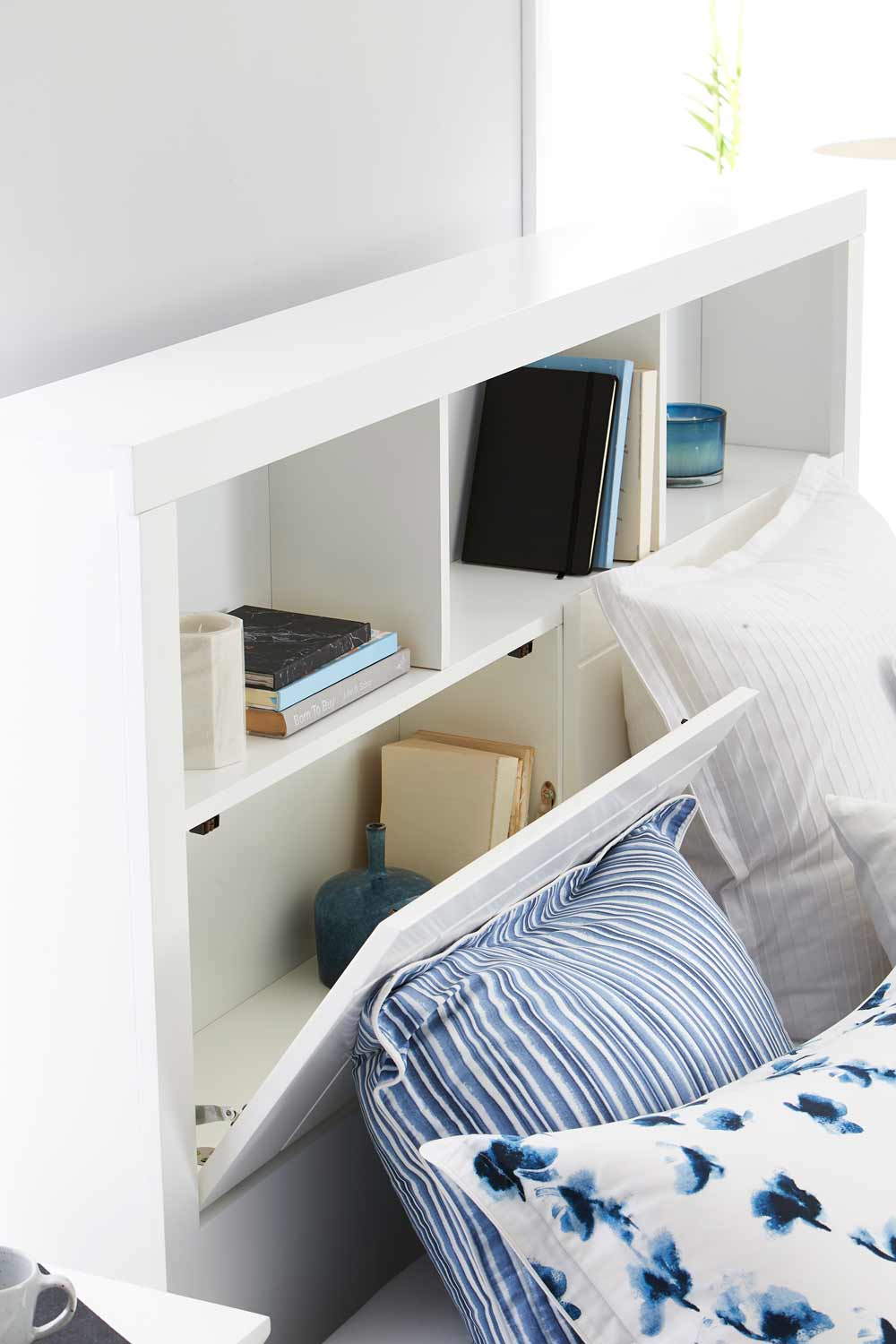 Bookend Bed Frame W/Bedhead Storage Matte White & Olsen Bookend Bed Frame W/Bedhead Storage Matte White | Bedroom ...