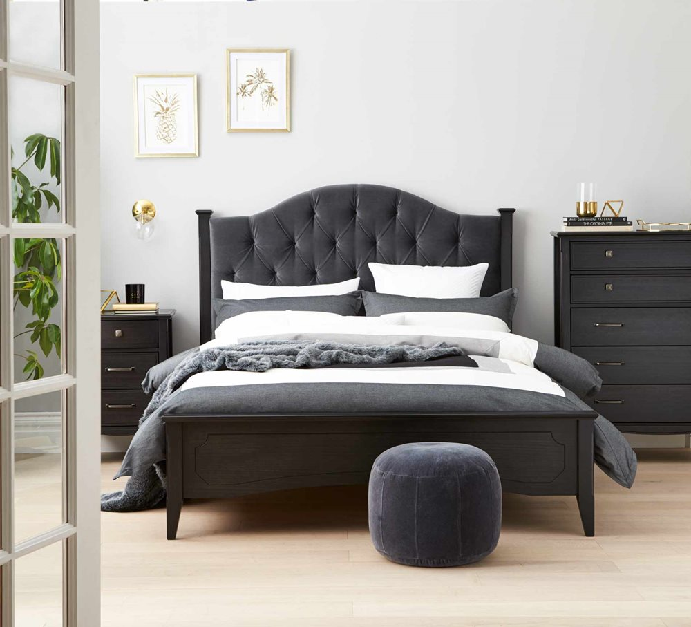 Chantilly Bed Frame W/Uphosltered Bedhead, Noir | Tuggl