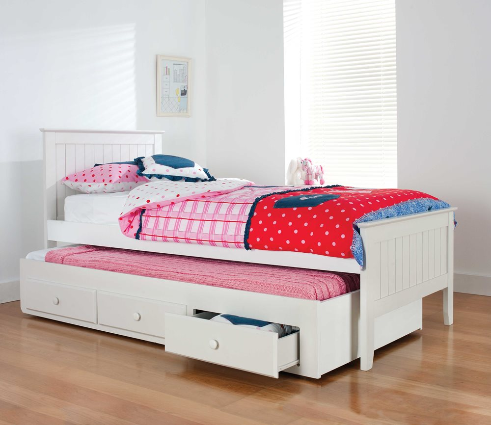 Alaska Bed Frame W Trundle White Bedroom Furniture