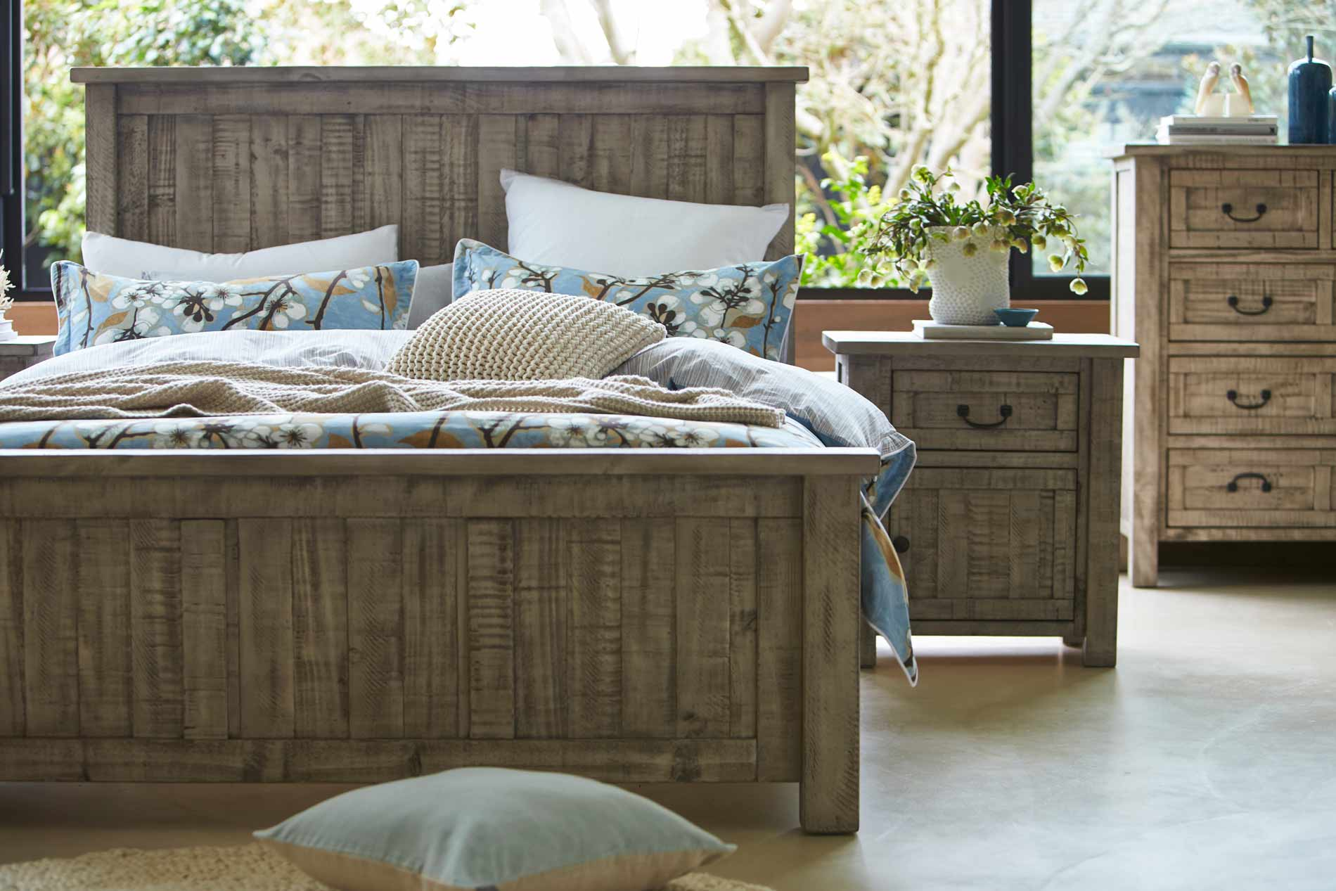 GALLERY QB BED RUSTIC GREY WASH image 1. Gallery Bed Frame Rustic Grey Wash   Bedroom furniture   Forty Winks