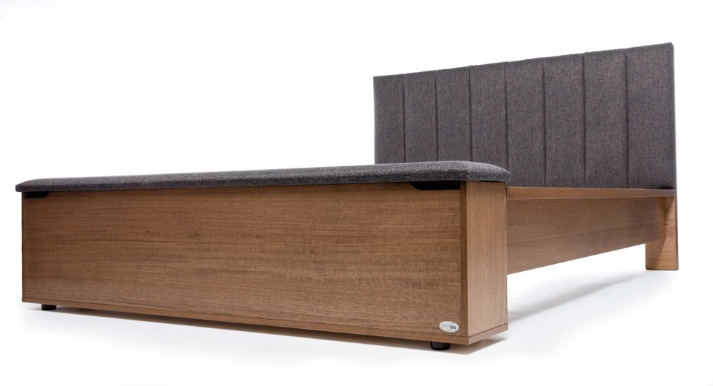 LINCOLN SKB BED W/UPHOLSTERED HEAD, STORAGE FOOT BOX (Latte, Warwick Checkmate Slate)  image 4