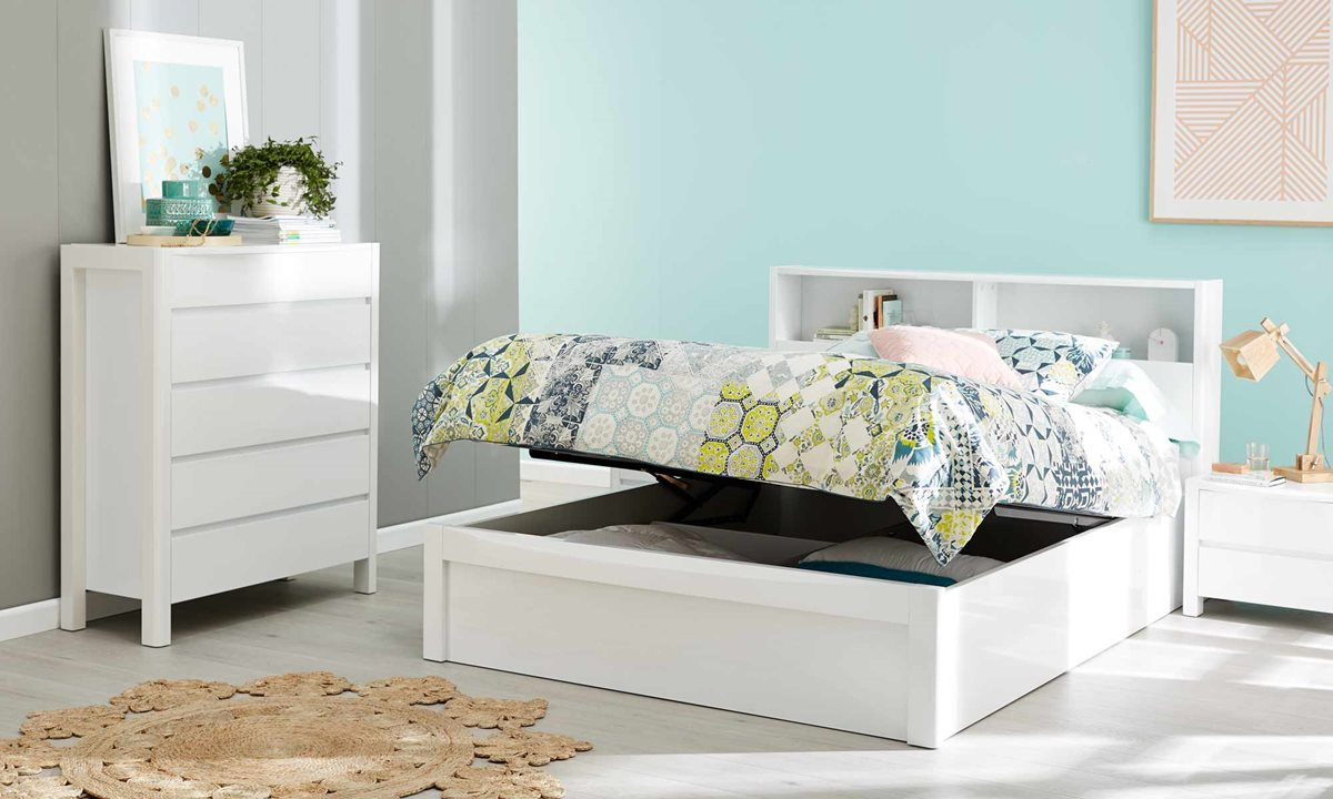 New York Bookend Bed Frame Gloss White Bedroom Furniture Forty Winks