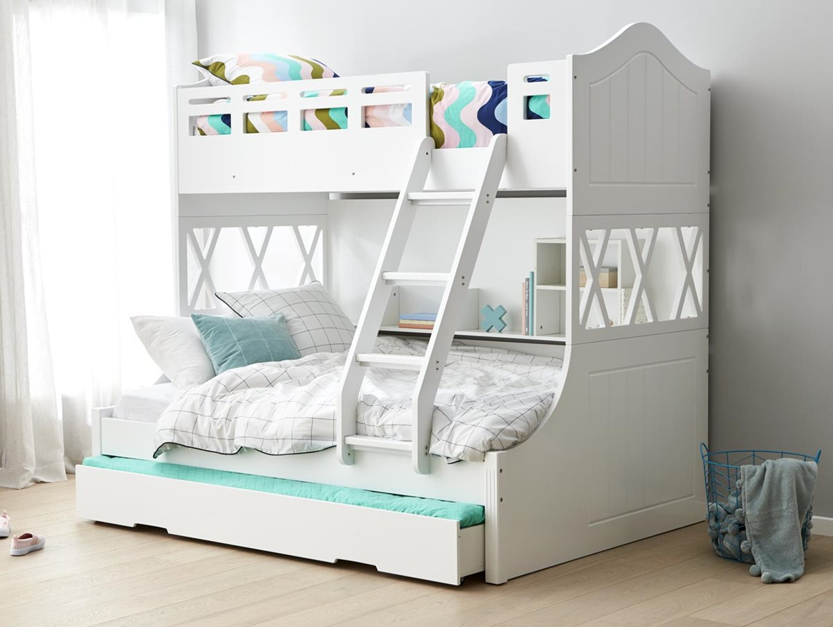 Snow Bunk Bed W Trundle Ivory White Bedroom Furniture