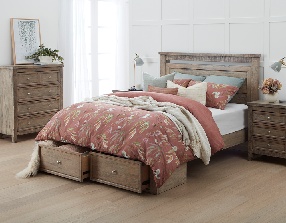OLIVIA KB BED W/DRAWERS (Oak)  image 5