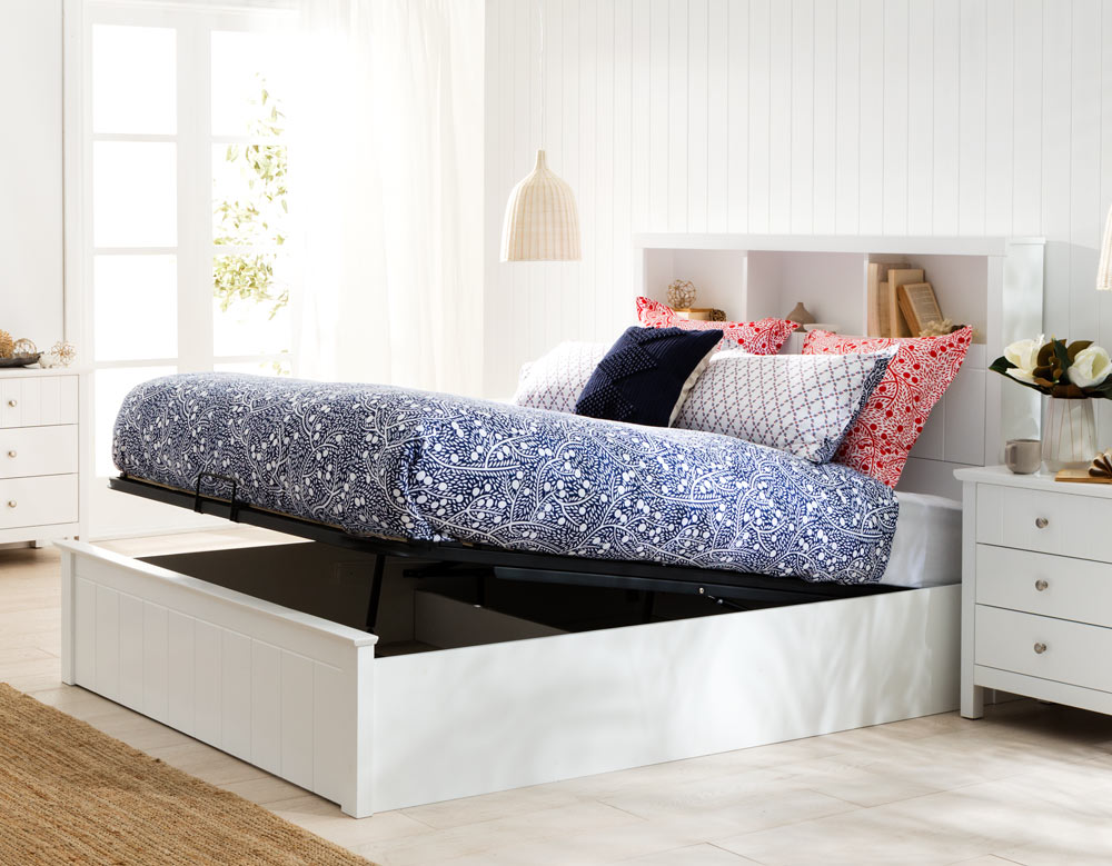 Olsen Bookend Bed Frame W Gas Lift Base, Queen Platform Bed With Storage And Headboard White