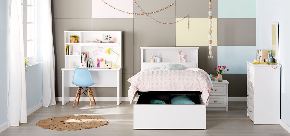 Odyssey Bookend Bed Frame W Gas Lift Storage Gloss White