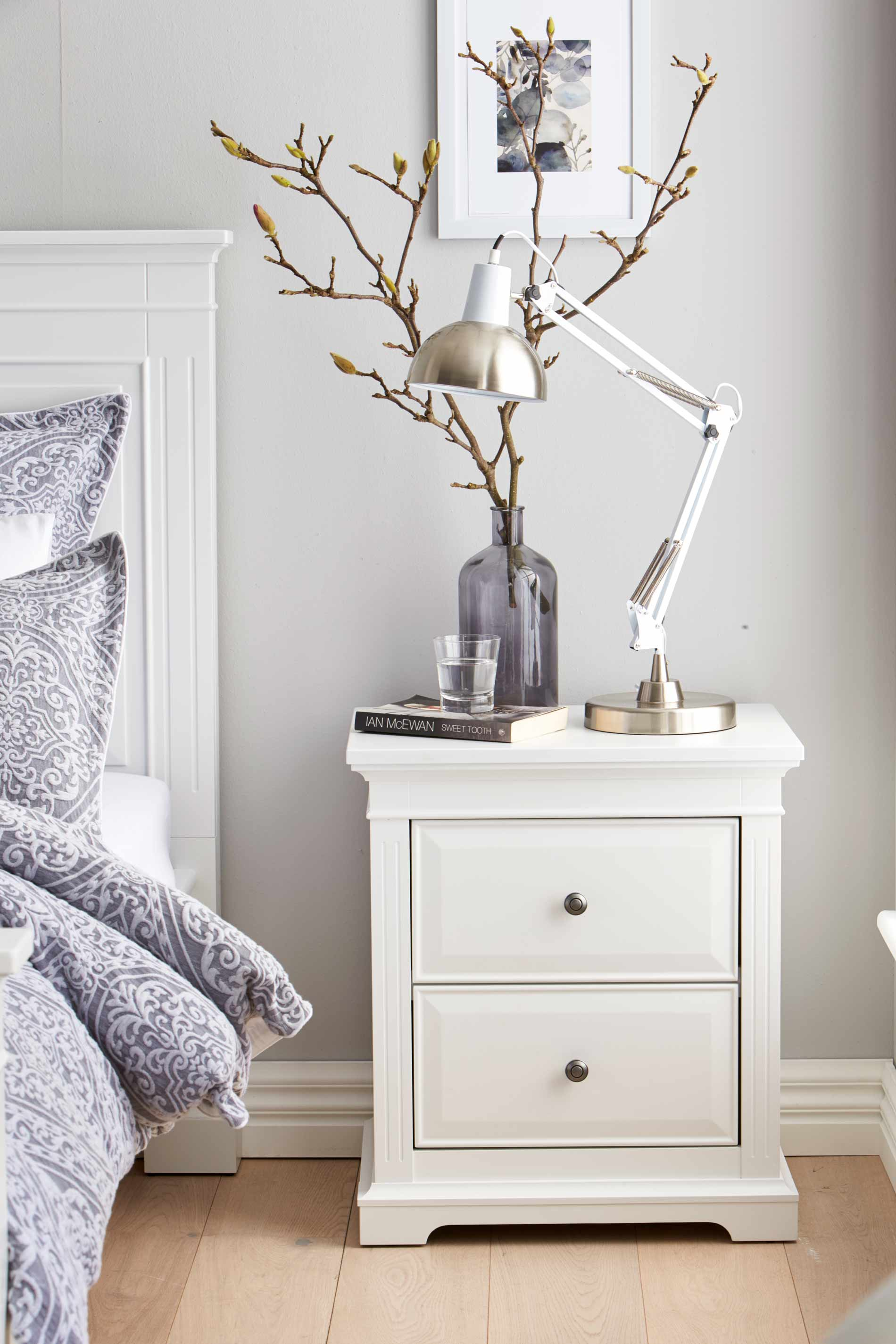 Pair Of Shabby Chic White Bedside Table Unit Cabi Nightstand 2 Drawer Storage