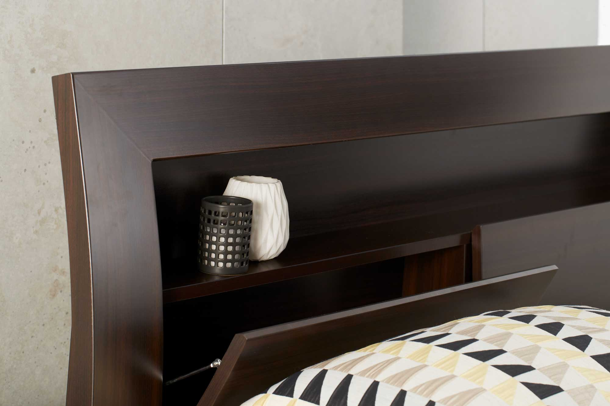 Metropolis Bookend Bed Frame W Gas Lift Storage Chocolate