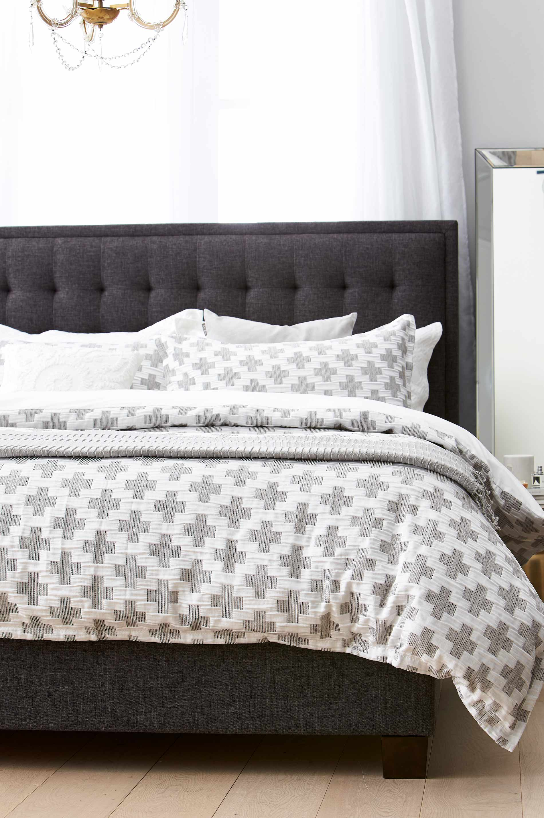 Basque Upholstered Bedhead Dark Grey Bedroom Furniture