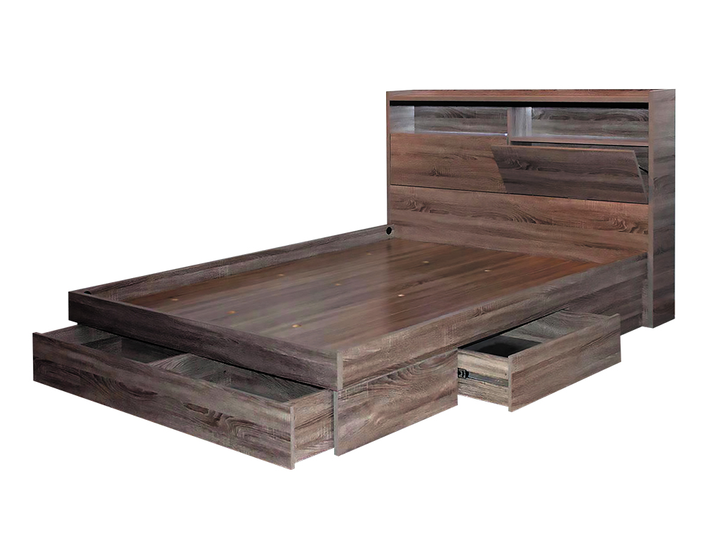 TR-80 ARMIDALE QB BED W/DRAWER BASE (GREY OAK) image 1