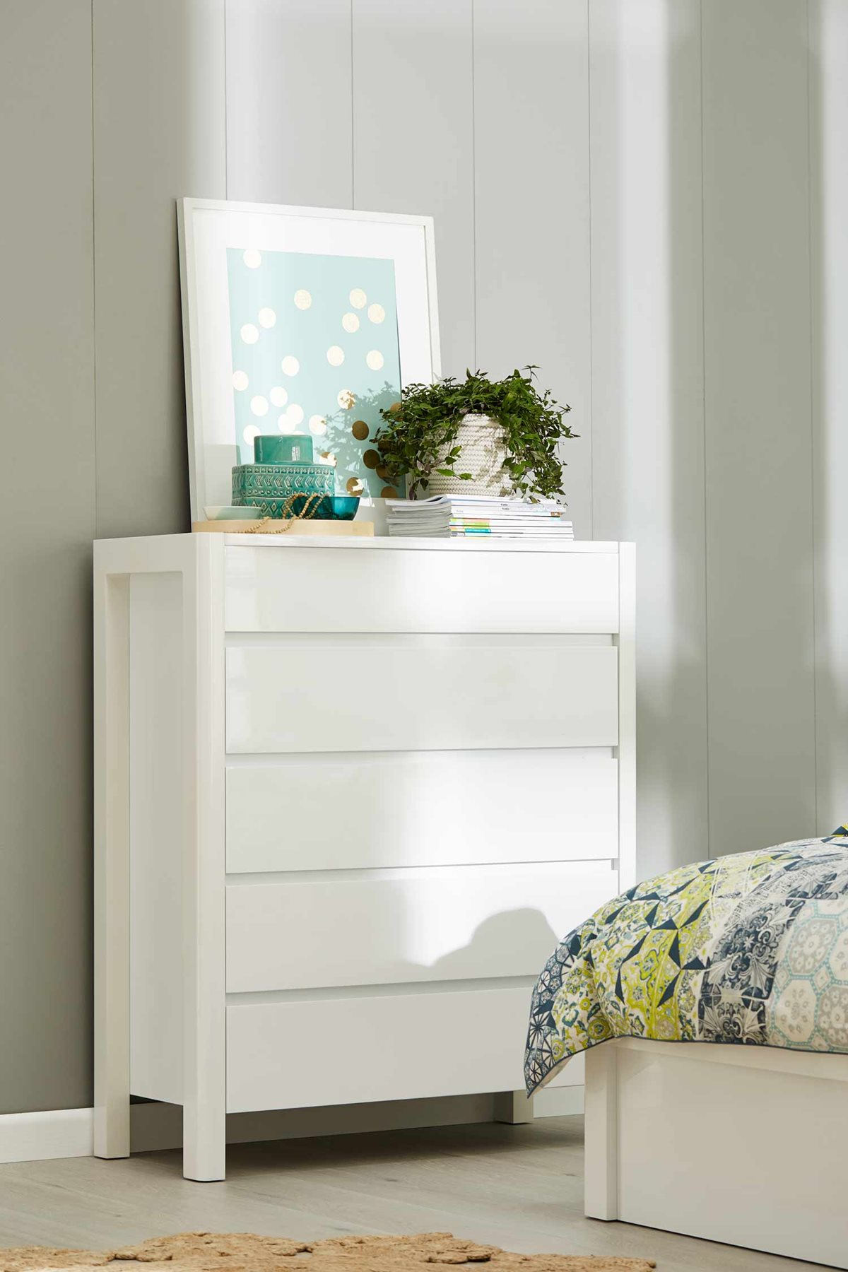 New York Tallboy 5 Drawer Gloss White Bedroom Furniture Forty Winks