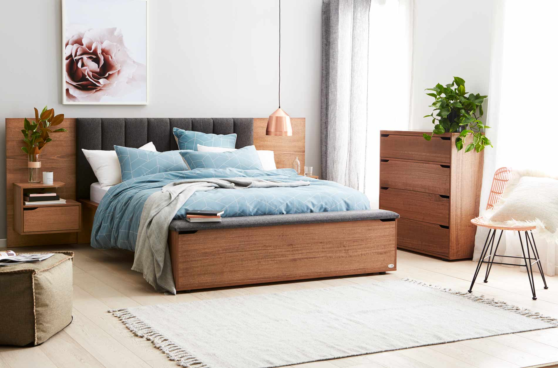 Lincoln bed frame w upholstered bedhead storage foot box for Foot of bed furniture