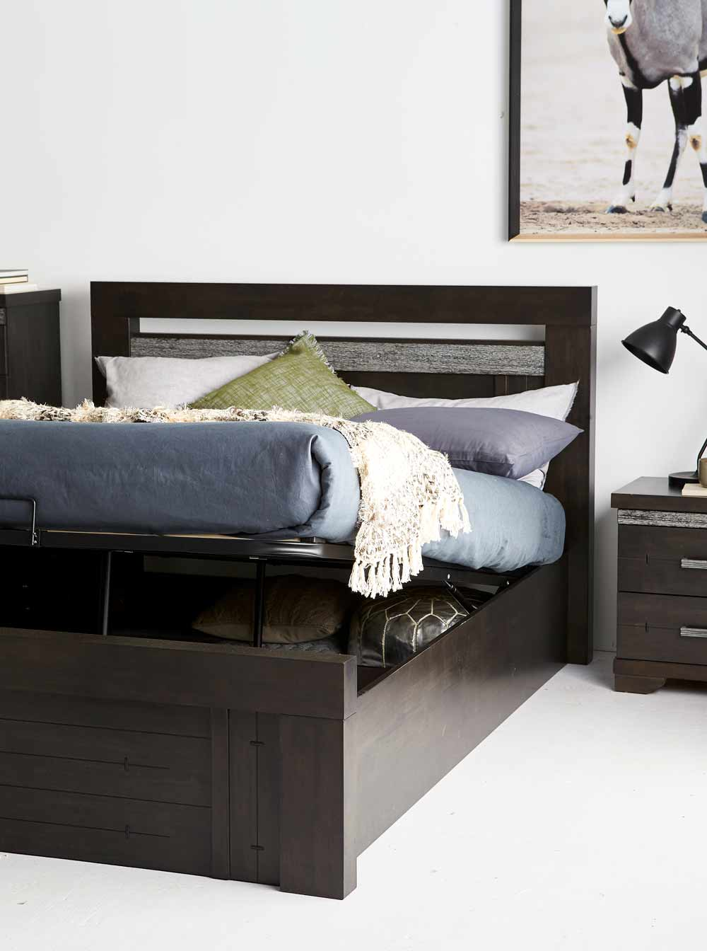 Malmo Bed Frame W Gas Lift Storage Wenge Bedroom Furniture Forty Winks